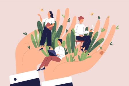 Giant hands holding tiny office workers. Concept of employee care, wellbeing at work or workplace, perks and benefits for personnel, support of professional growth. Flat cartoon vector illustration.