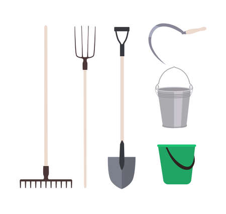 Collection of garden tools or agricultural implements isolated on white background - rake, pitchfork shovel, buckets, sickle. Set of equipment for harvest gathering. Flat cartoon vector illustration Illustration