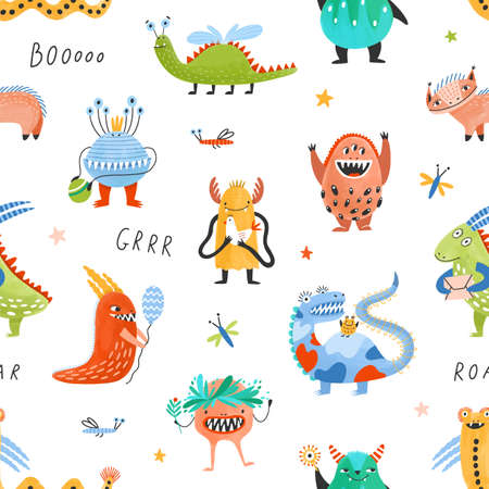 Seamless pattern with happy fantastic monsters, cute fairytale creatures, strange aliens, mutants on white background. Flat cartoon childish vector illustration for wrapping paper, textile print