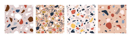 Bundle of decorative Italian terrazzo textures. Set of motley seamless patterns with colorful mineral rock pieces or fragments. Modern vector illustration for wrapping paper, fabric print, flooring.