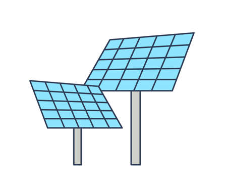 Solar panels isolated on white background. Photovoltaic power station. Facility for green energy production, electricity generation. Eco friendly technology. Modern linear vector illustration.