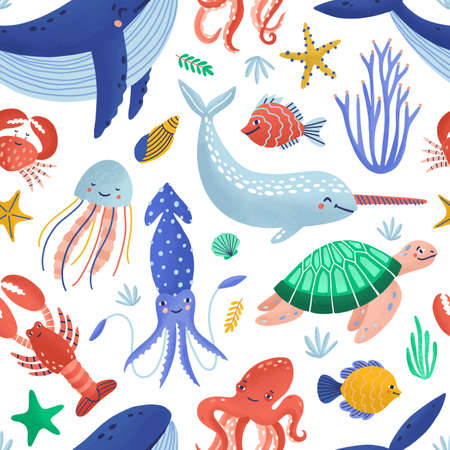 Seamless pattern with cute happy marine animals living in ocean. Backdrop with underwater fauna or sea world creatures on white background. Flat cartoon childish vector illustration for textile print. 向量圖像