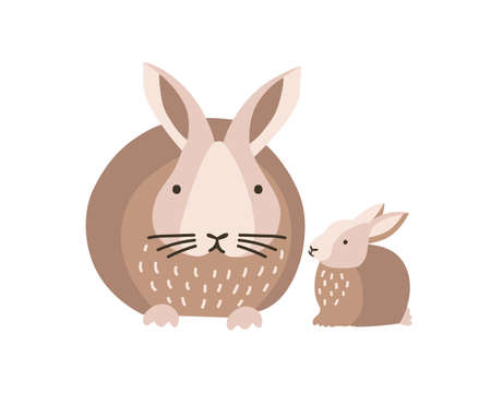 Bunny or rabbit with baby isolated on white background. Lovely family of cute funny wild forest animals or pets. Parent with youngling, mother and child. Flat cartoon colorful vector illustration.