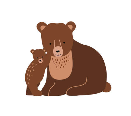 Brown bear and cub isolated on white background. Cute lovely family of wild forest carnivorous animals. Parent with youngling, mother and offspring. Flat cartoon colorful vector illustration.