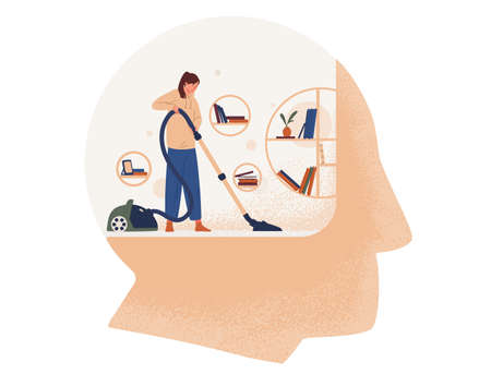 Cute woman with vacuum cleaner cleaning room inside giant head. Concept of cleansing and purification of inner space, thought cleansing, self care, mental health. Flat cartoon vector illustration. Illustration