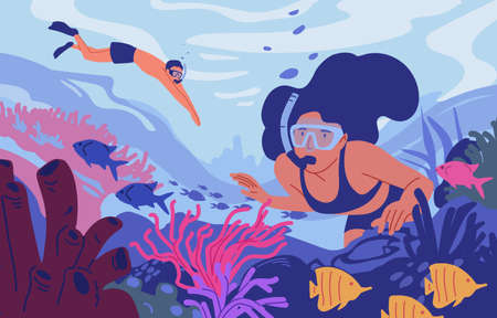 Young man and woman in diving masks swimming in sea or ocean and observing coral reef. Pair of snorkelers watching marine fauna. Underwater recreational activity. Flat cartoon vector illustration