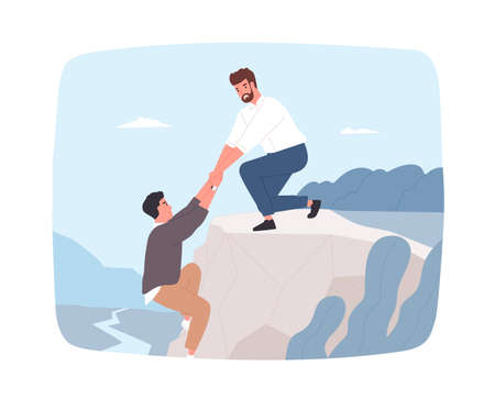 Young bearded man trying to help his friend hanging on cliff edge and pull him out. Rescue in mountains. Concept of true friendship, aid, care and support. Flat cartoon colorful vector illustration.