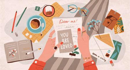 손으로 쓴 텍스트가 있는 종이 시트를 들고 있습니다. 미래의 자신에게 편지를 보내거나 우편 서비스를 통해 자신에게 서면 메시지를 보내는 개념. 플랫 만화 다채로운 벡터 일러스트 레이 션. 벡터 (일러스트)