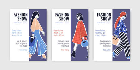 Bundle of fashion show invitation templates with young top models wearing trendy clothes and doing catwalk or demonstrating apparel on runway. Hand drawn vector illustration for event announcement.  イラスト・ベクター素材