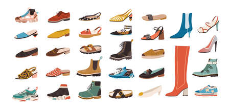 Collection of stylish elegant shoes and boots of different types isolated on white background. Bundle of trendy casual and formal mens and womens footwear. Flat cartoon colorful vector illustration.