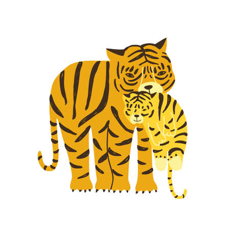 Tiger carrying its cub isolated on white background. Adorable family of cute funny wild exotic carnivorous animals. Parent with child, mother and baby. Flat cartoon childish vector illustration. Illusztráció