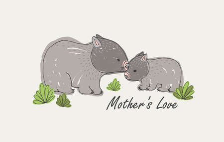 Wombat with its baby isolated on white background. Family of cute wild animals and mothers love handwritten text. Mother and youngling. Fauna of Australia. Vector illustration for apparel print. Illusztráció