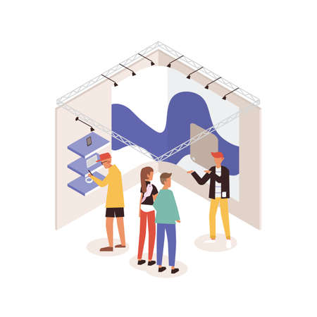 Men and women standing near commercial promotional stand and talking to consultant demonstrating gadget or device. People at electronics fair or exhibition. Colorful isometric vector illustration