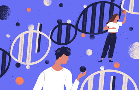 Researchers holding DNA molecules flat vector illustration. Man and women study genetic engineering cartoon characters. Genome mutation. Scientists investigate chromosome structure. Gene manipulation.