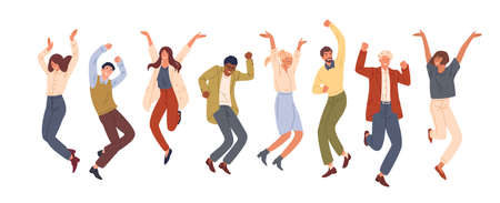 Happy jumping office workers flat vector illustration. Cheerful corporate employees cartoon characters set. Young male and female students in casual clothes isolated clipart. Diverse group of people.