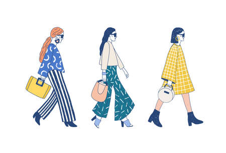 Fashion show runway flat vector illustration. Models dressed in haute couture clothing cartoon characters on white background. Designer demonstrating latest collection. Topmodel wearing trendy outfit.  イラスト・ベクター素材
