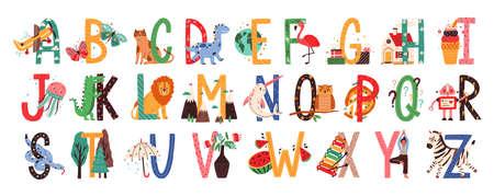 Engels alfabet met schattige dieren vector illustraties set. Geïsoleerde hoofdletters met verwante vogels, zoogdieren, vruchten in Scandinavische stijl. Kinderachtig lettertype voor kinderen ABC boek symbolen pack. Vector Illustratie