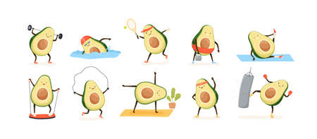 Avocado doing sport flat vector illustrations set. Exotic fruit cartoon characters training in gym. Kawaii avocado athletes swimming, playing tennis, doing yoga. Funny healthy lifestyle concept