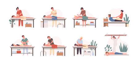 Masaż terapeutów w pracy płaskie ilustracje wektorowe zestaw. Pacjenci leżący na kanapie, korzystający z relaksującego zabiegu na ciało. Fizjoterapeuci praktykujący różne rodzaje masażu na białym tle postaci z kreskówek.