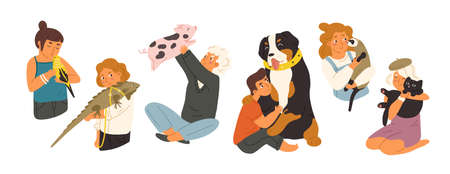Children with pets flat vector illustrations set. Happy domestic animals owners cartoon characters pack. Kids playing with different home pets. Mountain dog, mini pig, cute budgerigar and ferret. Stock Illustratie