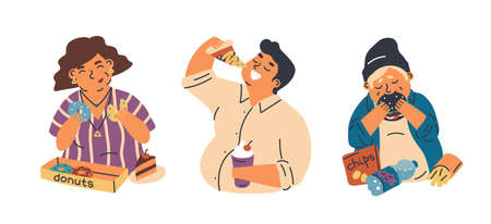 Food addiction flat vector illustrations set. Unhealthy lifestyle, harmful nutrition, obesity problem concept. Overweight woman, man and teenager eating junk food cartoon characters pack.