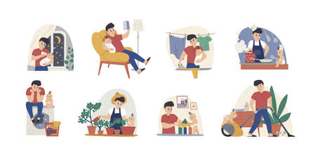 Man at maternity leave flat vector illustrations set. Single father with infant cartoon characters pack. Fatherhood chores, babysitting, housekeeping. Baby feeding, laundry and bedtime story reading.
