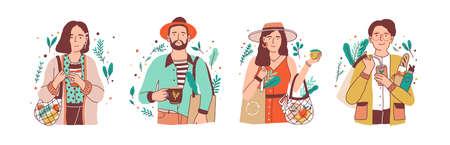 Flache Vektorillustrationen des grünen Lebensstils eingestellt. Junge Männer und Frauen, die Naturprodukte-Zeichentrickfiguren halten, packen. Zero Waste, Vegetarismus, Umweltschutz, Umweltschutzkonzept.