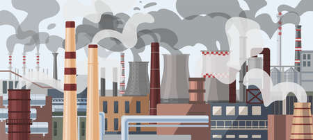 Industrial factory pipes, chimneys illustration. Power plant with smoke clouds panorama. Global warming, greenhouse effect, air pollution concept. Heavy chemicals emission, atmosphere contamination.
