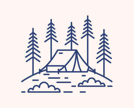 Camping tent in forest outline vector illustration. Blue linear campsite isolated on white background. Bivvy on glade and fir trees monocolor line art signs. Outdoor recreation in pine woods. Ilustração