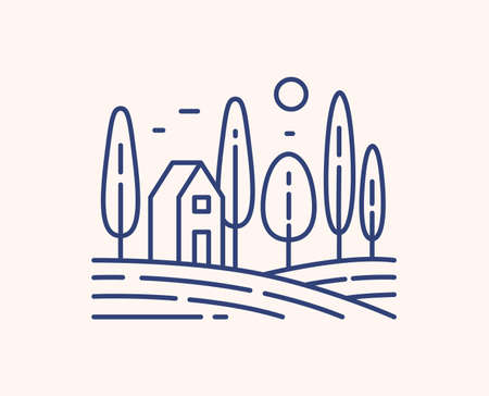 Rural landscape outline vector illustration. Blue linear scenery isolated on white background. Countryside view, small building and tall trees monocolor line art signs. Peasant house on meadow.
