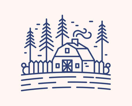 Winter evening outline vector illustration. Blue linear landscape, cottage exterior isolated on white background. Countryside home with smoking chimney. Rustic scenery, dwelling house and fir trees.