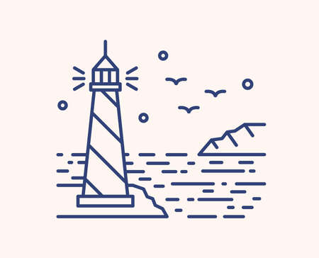 Shining lighthouse outline vector illustration. Blue linear seascape isolated on white background. Sea beacon, seagulls and stars monocolor line art signs. Ocean landmark, navigation tower.