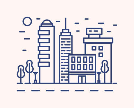 Modern cityscape outline vector illustration. Blue linear urban landscape isolated on white background. City buildings, skyscrapers monocolor line art signs. Metropolis architecture, business district.