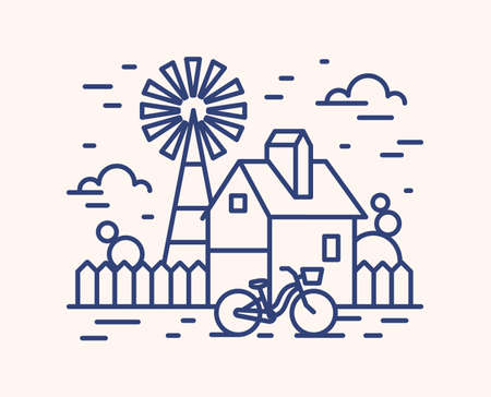 Rural house, farm outline vector illustration. Blue linear farmland isolated on white background. Building with fence, wind pump and bicycle monocolor line art signs. Countryside cottage, ranch.