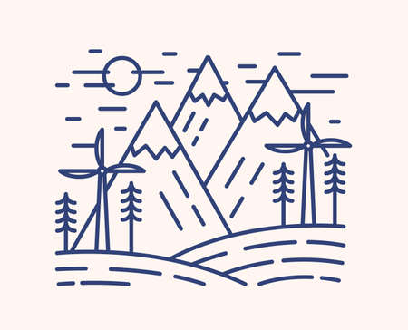 Wind turbines outline vector illustration. Blue linear wind farm isolated on white background. Mountains and windmills monocolor line art signs. Environmentally safe power plant, energy source concept. Ilustração