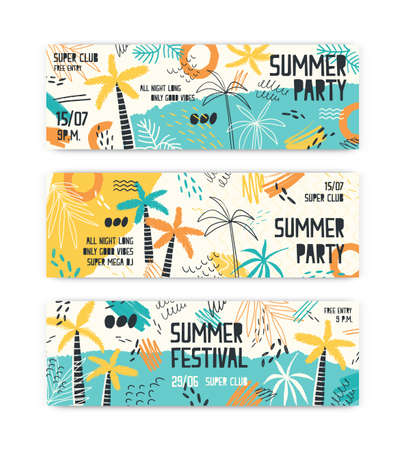 Summer festival banner vector templates set. Tropical beach party invitation layouts pack. Music entertainment, open air discotheque advertising. Palm trees doodle illustrations with typography.