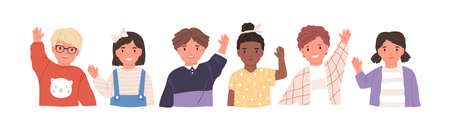 Kids waving hands flat vector illustrations set. Smiling little children in casual clothing greeting gesture. Cheerful elementary school students, kindergarten pupils cartoon characters hi. Stockfoto - 131784320