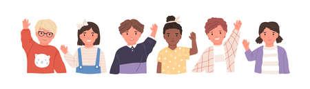 Zestaw ilustracji wektorowych płaski dzieci macha rękami. Uśmiechnięte małe dzieci w geście powitania odzieży casual. Wesoły uczniowie szkoły podstawowej, przedszkolaki postacie z kreskówek cześć.