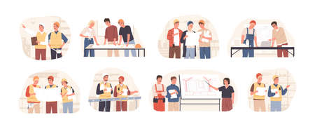 Builders and architects flat vector illustrations set. Architectural project planning, development and approval. Building industry concept. Professional contractors and engineers cartoon characters.