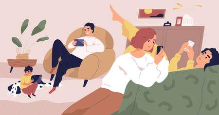 Illustration vectorielle plane de concept de dépendance aux gadgets. Famille utilisant des appareils électroniques portables. Utilisateurs des réseaux sociaux. Personnes tenant des smartphones et des tablettes. Parents et enfants passent du temps en ligne.