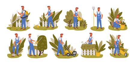 Ogrodnik pracy płaskie ilustracje wektorowe zestaw. Męska złota rączka postać koszenie trawy, przycinanie drzew i krzewów na białym tle opakowanie. Kształtowanie krajobrazu przydomowego, uprawa i szkółka roślin, pielęgnacja ogrodów.