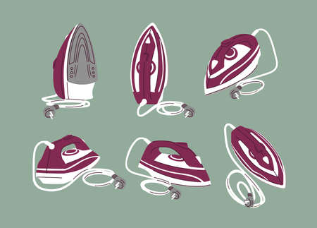 Steam iron for cloth vector illustrations set. Electrical domestic appliance isolated icon pack. Household equipment from various perspective, side and top view. Modern housekeeping device.