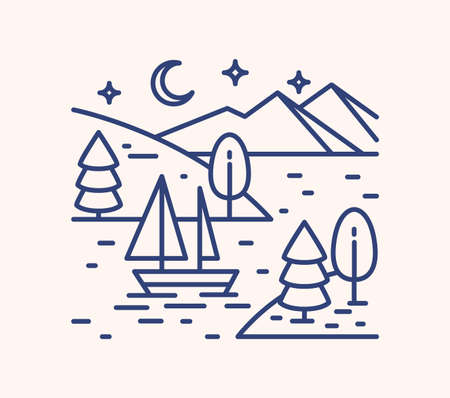 Romantic lake trip on starry night lineart illustration. Linear sailboat in mountain lagoon waters. Outdoor recreation activities concept. Wild nature holidays on river banks with forest trees.