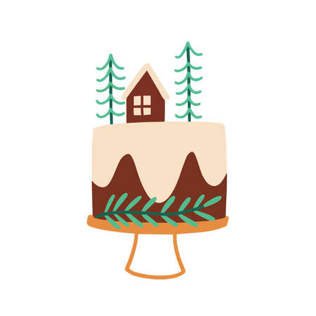 Christmas cake flat vector illustration. Xmas holiday homemade baking isolated on white. Chocolate festive dessert, cake with fir trees and cream icing design element. Confectionery, bakery product.  イラスト・ベクター素材