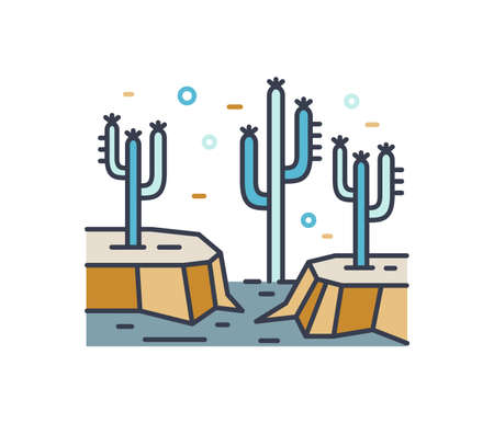 Dry desert line art scenery. Wild land with cactus plants contour sign. Simple colorful mexican landscape with rocks and cacti isolated on white background. Vector outline natural illustration.