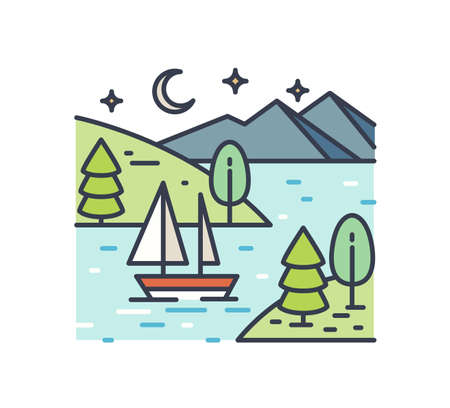 Romantic lake trip on starry night line art illustration. Colorful outline scenery with a boat sailing in the river near the mountains. Vector picturesque landscape isolated on white background.