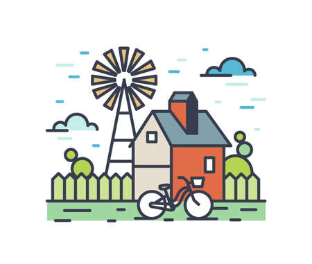Picturesque outline countryside landscape. Colorful rural scenery with country house yard, bicycle and wind pump. Farmland composition isolated on white background. Vector line art illustration.