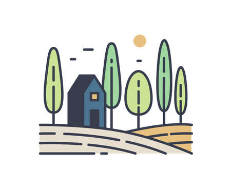Simple rural landscape line art illustration. Colorful outline countryside scenery with a small house in the field or meadow surrounded by trees. Colored vector sign isolated on white background.