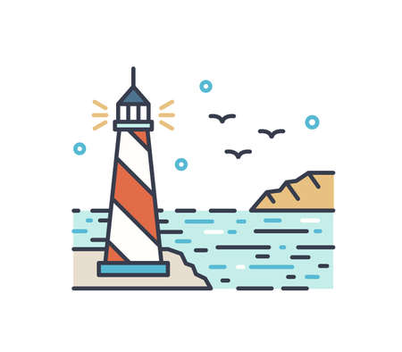 Shining lighthouse outline vector illustration. Colorful picturesque seascape with navigational aid tower. Line art landscape with sea beacon. Simple vector sign isolated on white background.