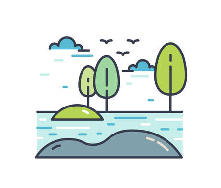 Colorful line art natural landscape. Picturesque linear scenery with bank of the river or lake, trees and birds flying in the sky. Simple vector illustration isolated on white background.